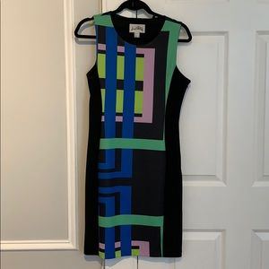 Black dress with colored design